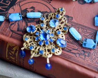 Antique Blue Fused Glass OOAK Assemblage Necklace, Dress Clip Pendant, JEwelry Gift for Her
