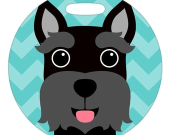 Personalized Luggage Tag / Carry On Bag Tag / Round FRP Plastic Tag / Black Mini Schnauzer  / 2 Sizes Available