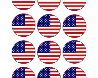 Edible American Flag Cupcake Toppers