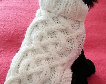 Knit Dog Sweater knitting pattern Celtic Braid design Downloadable PDF
