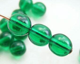 6mm Czech Druk Beads Round Transparent Emerald Green (20pk) SI-6DK-TEG