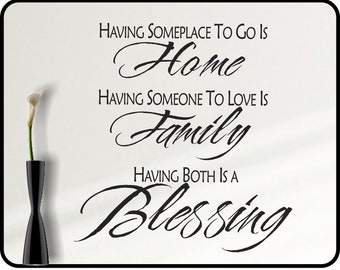 """Inspirational Family Wall decal quote - family, blessing, home removable wall decor / 23"""" x 27"""""""