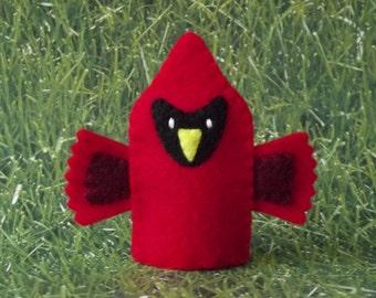 Cardinal Finger Puppet - Felt Finger Puppet Bird - Felt Cardinal Puppet