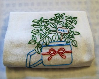 Hand Embroidered, Hand Embroidery Dish Towel, Basil, Kitchen Dish Towel, Basil Plant