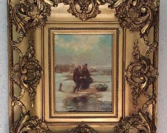 Sale Antique 19th C. Oil Painting Fisherman & Wife English School R. Fetter Period Ornate Gilt Frame European Genre Art O/C