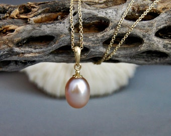 Avani - Freshwater Pearl Pendant, pearl necklace, pearl jewelry, pendant necklace, gold, June birthday, pearl jewelry, gift for her, wedding