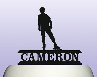 Personalised Acrylic Male Roller Skating Birthday Cake Topper Decoration