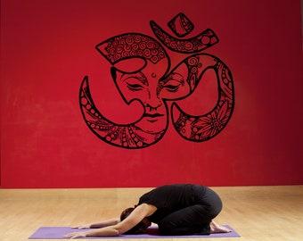 Wall Window Decal Sticker EOm Symbol Buddha Face Yoga Hindu Namaste Yoga Studio Bedroom 936b