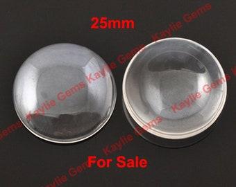 Vente 400pcs 25mm ronde gros Cabochon en verre clair