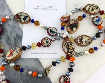 Vintage Postcards Photobeads Necklace with crystals and glass pearls - butterflies theme