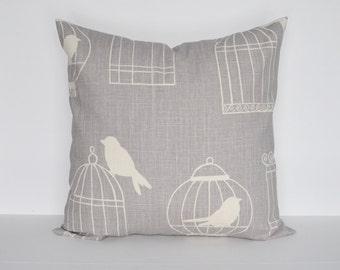 Birdcage Pillow Cover Gray Pillow Linen Pillow Bird Pillow 8 Sizes Available Cushion cover