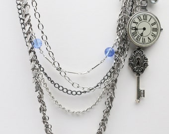 Multi-Strand Necklace - Multistrand Silver Necklace - Almost Steampunk Multi-Strand Necklace
