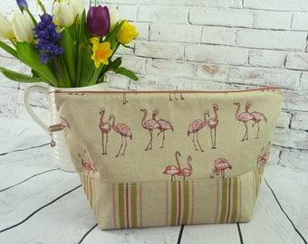 Flamingos Large Knitting/Crochet Project Bag