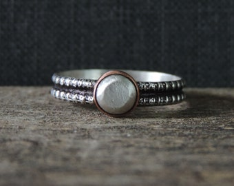 Copper & Sterling Silver Stacking Ring | Silver Nugged Stone | Oxidized Patina, Hammered Double Band, Size 8.5, Ready to Ship
