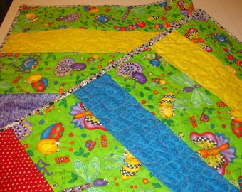 Baby Quilt, Baby Boy Quilt, Baby Girl Quilt, Bugs, Bugs, Bugs,