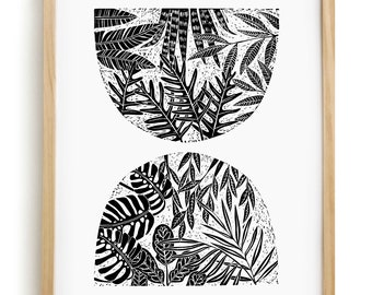 Blossom Linocut Print- 18x24 Inches