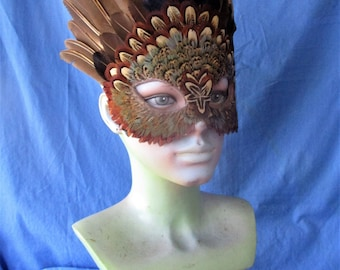 Pheasant feather mask featuring wings and body feathers  1005