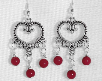 SPECIAL! Filigree Heart Fashion Earrings with Coral Drops