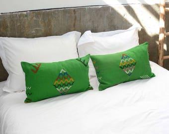 Green Cactus Silk Lumbar Pillow #2 - 14X22