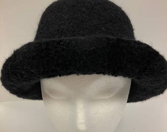 Hand knit felted wool hat