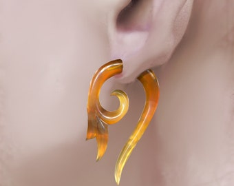 "Fake Gauge Earrings , Amber Horn Earrings ""Leaflet Curls"", Rare Caramel Horn, Tribal Earrings, Fake Piercing,  Fake Plugs, SA1"