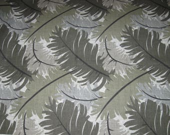 Home Decor Drapery Fabric By the Yard Sage Green/Gray Large Leaves/Leaf Print Medium Weight Cotton for Draperies,Curtains, Pillows, Crafts