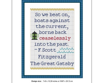 The Great Gatsby Book Quote Counted Cross Stitch Pattern