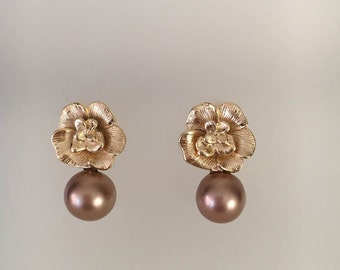 Brown Freswater Pearls Pearl Earrings Gold Earrings Pearl Earring Brown Earrings Delicate Earrings Delicate Jewelry