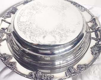 Silver Serving Dish, Grape Pattern  Silver Serving Dish, Silver Handled Dish, Silver Serving Dish, Round Silver Lidded Dish, Serving Dish