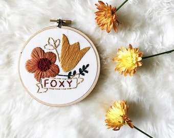 Embroidery Hoop Art - Floral Bouquet with Name - Embroidery Hoop Art in 4 Inch Hoop - Mother's Day - Gift Idea
