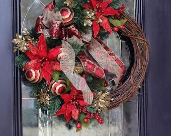 Elegant Red Christmas wreath for front door, Christmas wreaths, Winter wreath, Christmas decorations, Christmas door wreaths, Christmas gift