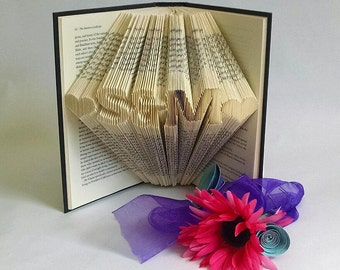 Personalized Wedding Gift, Gift for Couple, Custom Decorative Folded Book Art Sculpture