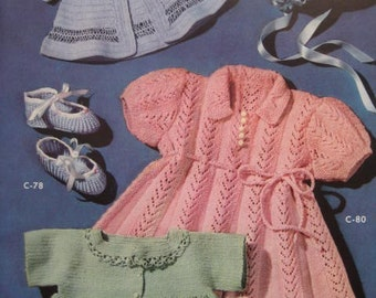 1950's 5 Vintage Crochet and Knitting pdf Patterns Baby Sweaters, Booties, Bonnet, Dress C78, C79, C80