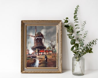 Living Room Art, Bedroom Art, Office Art Print, Dutch Windmill Restored Antique Art #511  FREE SHIPPING
