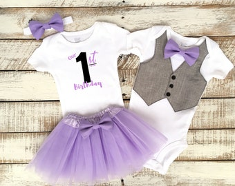 Boy Girl Twins 1st Birthday Outfits, Our First Birthday, Matching Outfits, Grey Vest with Purple Bow Tie, Purple TuTu Skirt, Bow Headband