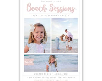 Beach Mini Session Marketing Template, Beach Sessions, Mini Session Template