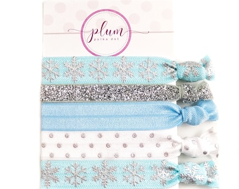 Winter Snowflake Hair Ties, Blue and Silver Hair Ties, Stocking Stuffers for Women, Stocking Stuffer Girls, Teacher Gifts Under 10, Set of 5