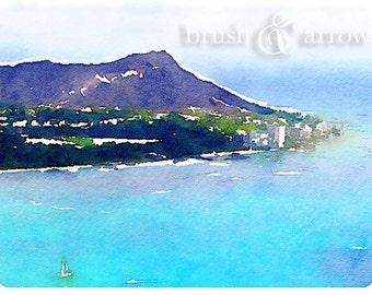 Diamond Head Hawaii art print, watercolor style image, instant digital download