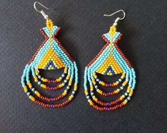 Gift for her, Bohemian earrings, huichol earrings,  native American earrings, beaded earrings, boho earrings, fringe earrings, tassel