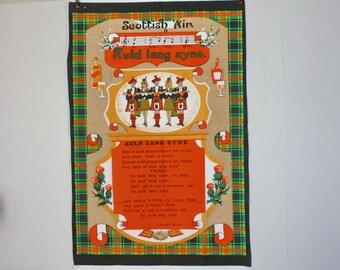 Tea Towel Vintage Hand Towel Souvenir Scotland Auld Lang Syne Robert Burns Unused