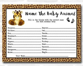 Baby Shower Games Giraffe Animal Print Baby Animal Cards