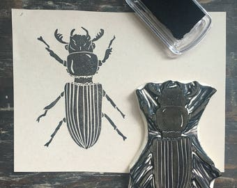 Beetle Rubber Stamp | Patent Leather Beetle Hand Carved Stamp