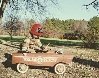 Chapeau crocheté pompier
