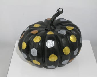 Small Black Pumpkin with Metallic Polka Dots
