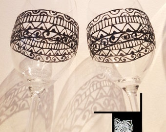 Set of 2 Wine Glasses - Hand painted with henna inspired design