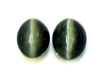 2 Pcs Natural Cat's Eye Gemstone, 9 to 12 mm , 9.50 Cts Genuine Cat's Eye Cabochon Gemstone for Jewelry Making, Healing Stone