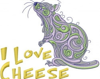 I Love Cheese Mouse Rat Embroidered Flour Sack Hand/Dish Towel