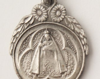 """Vintage our Notre Dame of Marienthal Religious Medal Pendant on 18"""" sterling silver rolo chain"""