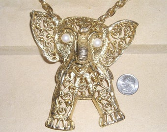 Vintage Large Gold Filigree Aticulated Elephant Necklace With Piercing Faux Pearl Eyes 1960's Jewelry 6038