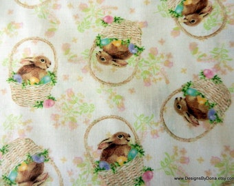One Half Yard Cut Quilt Fabric, Easter, Bunnies in Baskets with Decorated Eggs, Sewing-Quilting-Craft Supplies